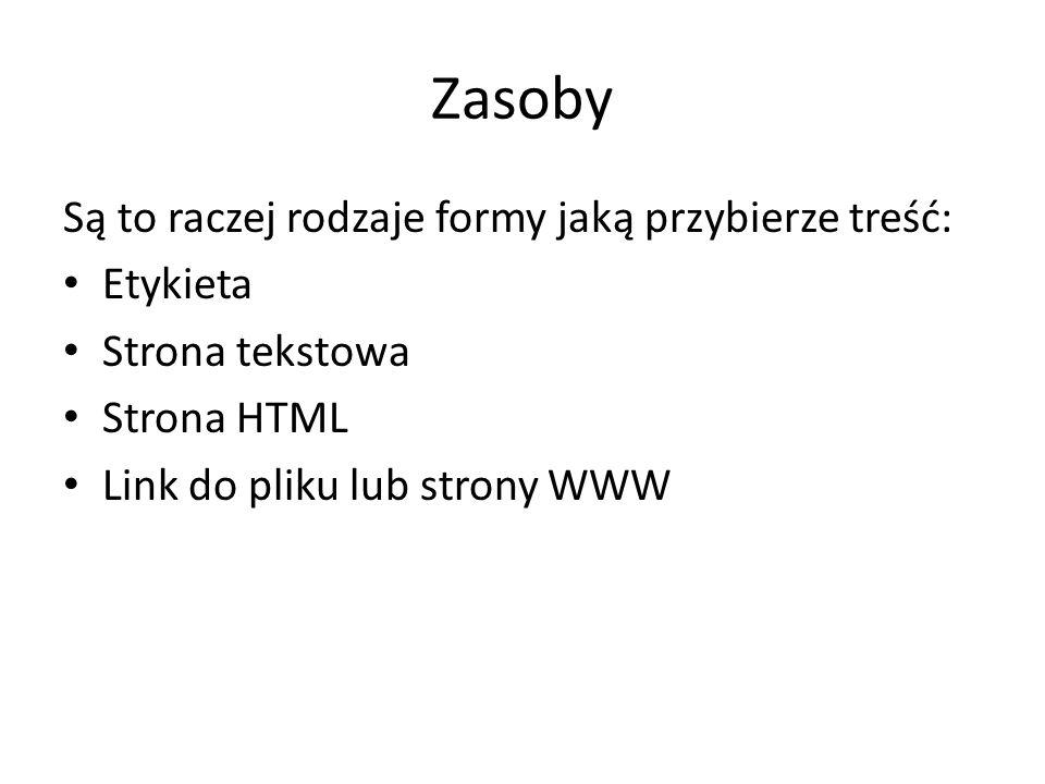 Zasoby Są to raczej rodzaje formy jaką przybierze treść: Etykieta Strona tekstowa Strona HTML Link do pliku lub strony WWW