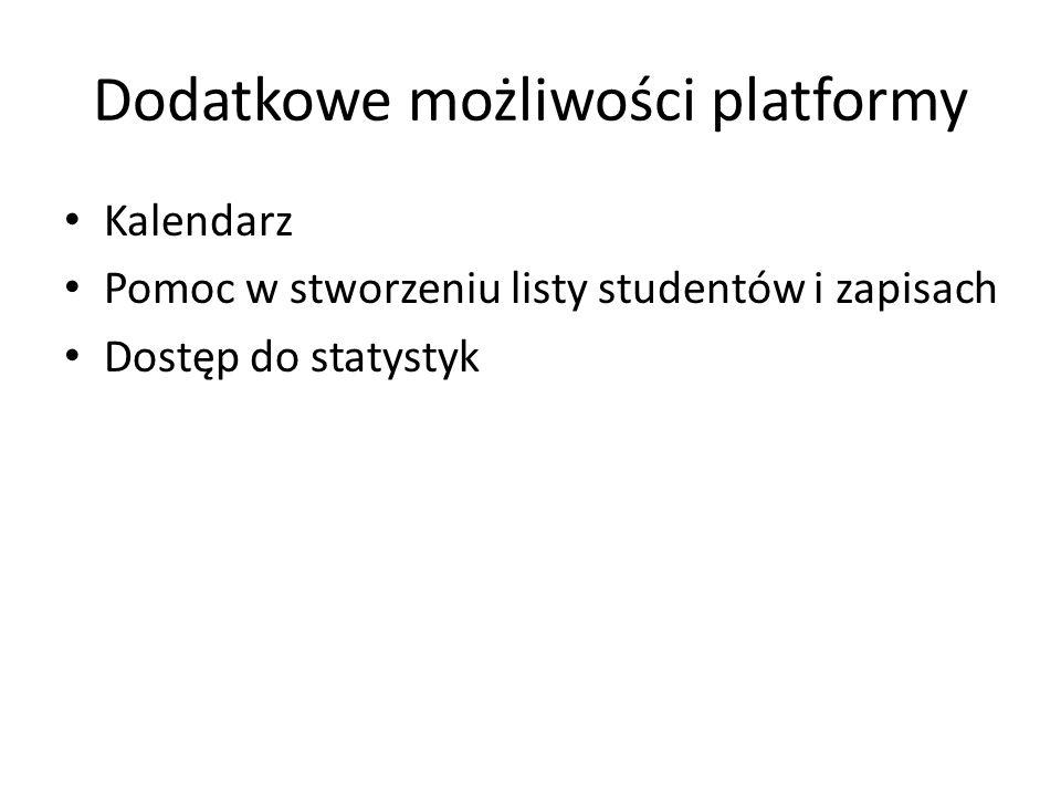Dodatkowe możliwości platformy Kalendarz Pomoc w stworzeniu listy studentów i zapisach Dostęp do statystyk