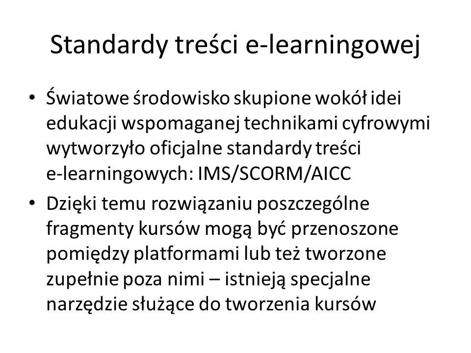 Standardy treści e-learningowej Światowe środowisko skupione wokół idei edukacji wspomaganej technikami cyfrowymi wytworzyło oficjalne standardy treści e-learningowych: IMS/SCORM/AICC Dzięki temu rozwiązaniu poszczególne fragmenty kursów mogą być przenoszone pomiędzy platformami lub też tworzone zupełnie poza nimi – istnieją specjalne narzędzie służące do tworzenia kursów