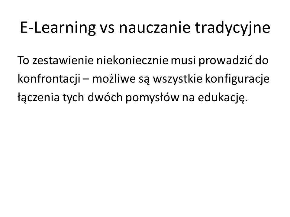 E-Learning vs nauczanie tradycyjne To zestawienie niekoniecznie musi prowadzić do konfrontacji – możliwe są wszystkie konfiguracje łączenia tych dwóch pomysłów na edukację.