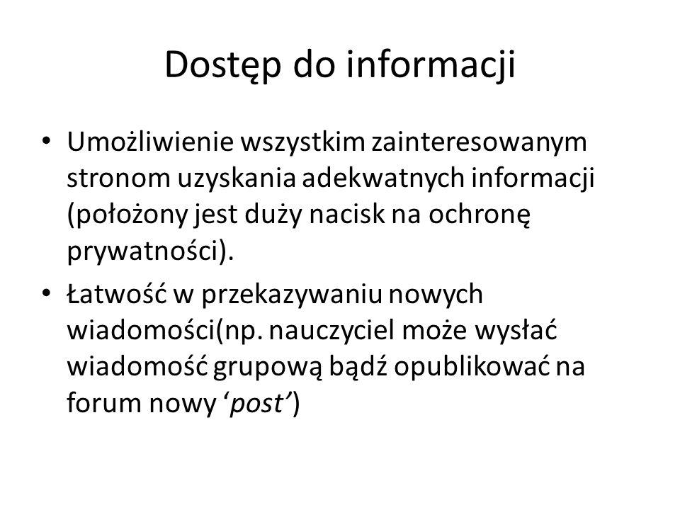 Dostęp do informacji Umożliwienie wszystkim zainteresowanym stronom uzyskania adekwatnych informacji (położony jest duży nacisk na ochronę prywatności).