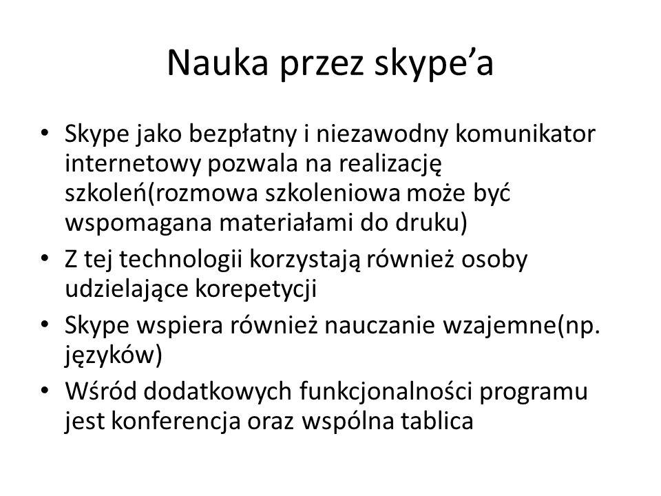 Nauka przez skypea Skype jako bezpłatny i niezawodny komunikator internetowy pozwala na realizację szkoleń(rozmowa szkoleniowa może być wspomagana materiałami do druku) Z tej technologii korzystają również osoby udzielające korepetycji Skype wspiera również nauczanie wzajemne(np.