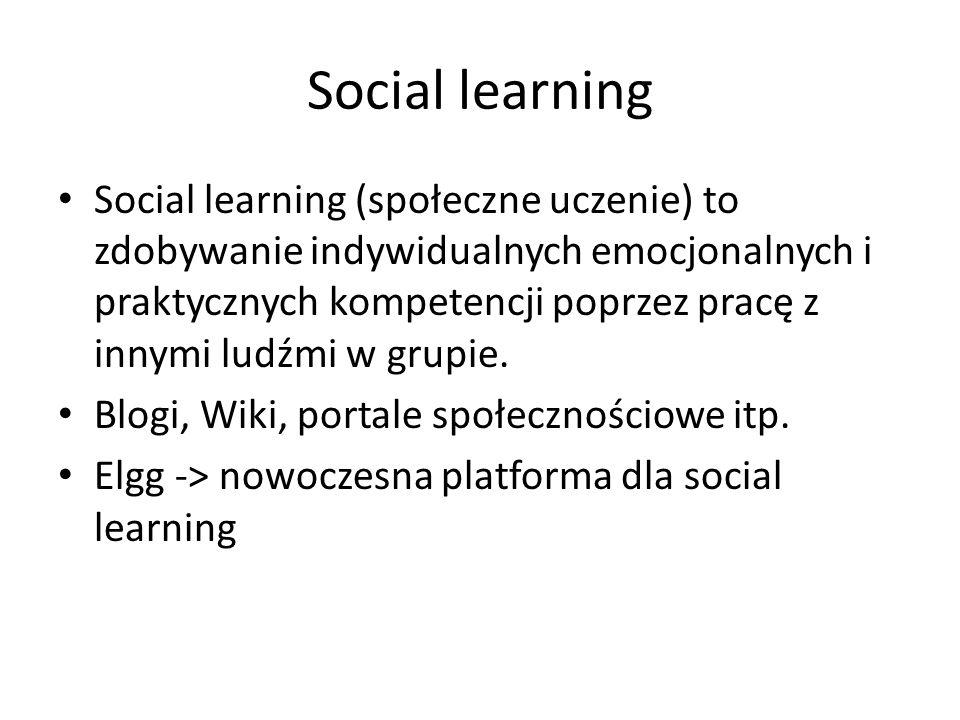 Social learning Social learning (społeczne uczenie) to zdobywanie indywidualnych emocjonalnych i praktycznych kompetencji poprzez pracę z innymi ludźmi w grupie.