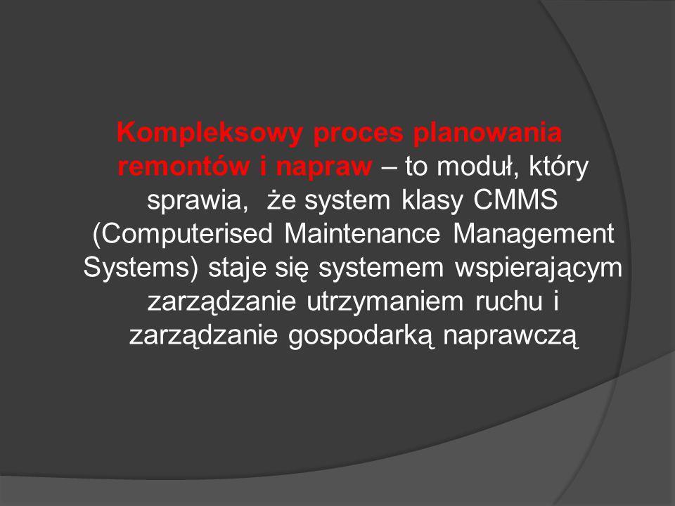 Kompleksowy proces planowania remontów i napraw – to moduł, który sprawia, że system klasy CMMS (Computerised Maintenance Management Systems) staje się systemem wspierającym zarządzanie utrzymaniem ruchu i zarządzanie gospodarką naprawczą