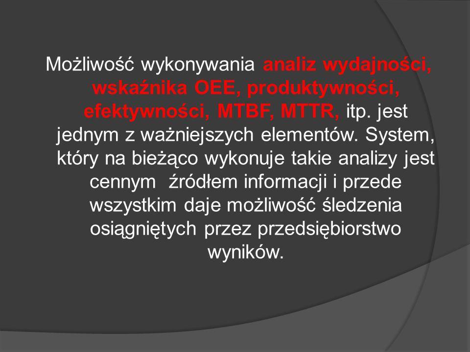 Możliwość wykonywania analiz wydajności, wskaźnika OEE, produktywności, efektywności, MTBF, MTTR, itp.