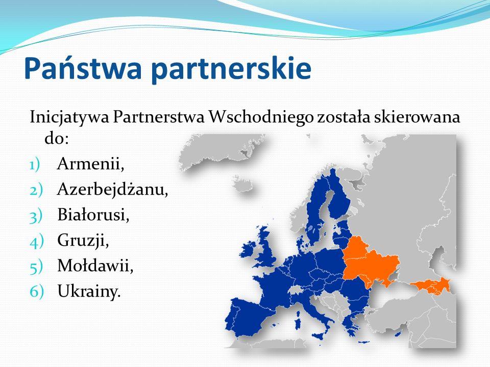 Państwa partnerskie Inicjatywa Partnerstwa Wschodniego została skierowana do: 1) Armenii, 2) Azerbejdżanu, 3) Białorusi, 4) Gruzji, 5) Mołdawii, 6) Uk