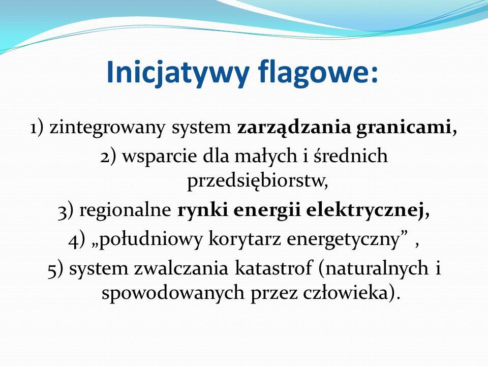 Inicjatywy flagowe: 1) zintegrowany system zarządzania granicami, 2) wsparcie dla małych i średnich przedsiębiorstw, 3) regionalne rynki energii elekt