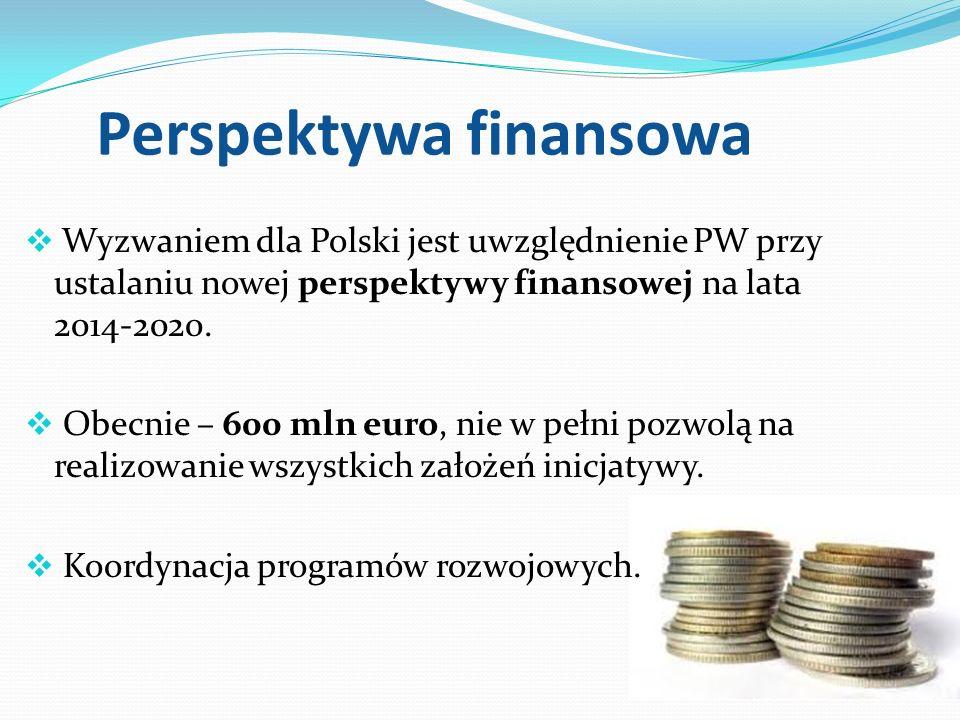 Perspektywa finansowa Wyzwaniem dla Polski jest uwzględnienie PW przy ustalaniu nowej perspektywy finansowej na lata 2014-2020. Obecnie – 600 mln euro