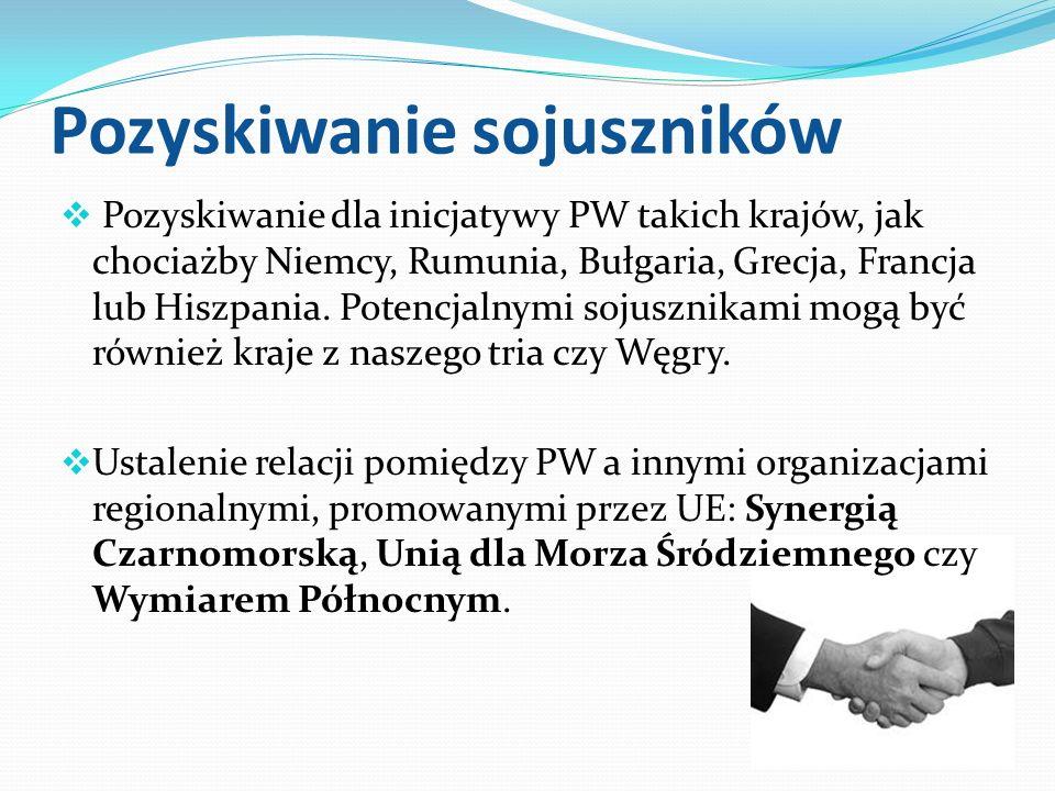 Pozyskiwanie sojuszników Pozyskiwanie dla inicjatywy PW takich krajów, jak chociażby Niemcy, Rumunia, Bułgaria, Grecja, Francja lub Hiszpania. Potencj