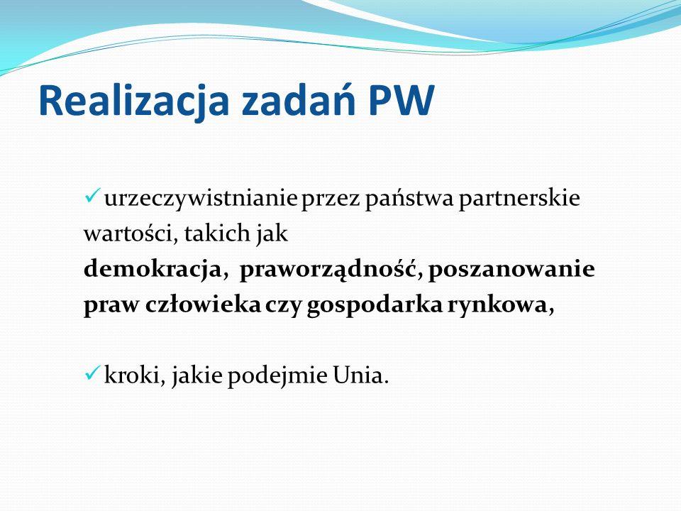 Realizacja zadań PW urzeczywistnianie przez państwa partnerskie wartości, takich jak demokracja, praworządność, poszanowanie praw człowieka czy gospod