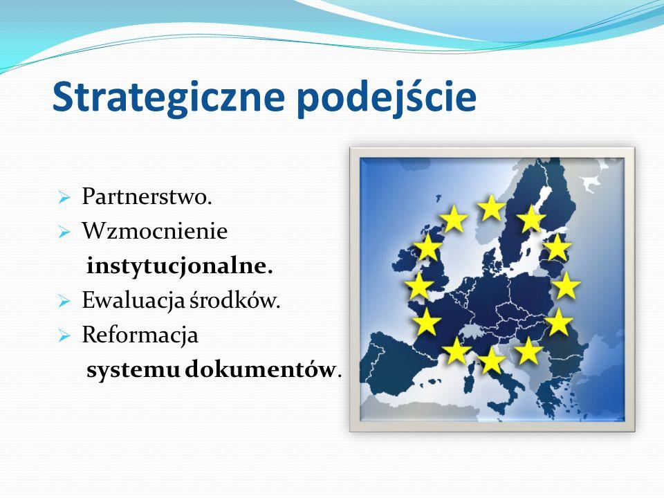 Strategiczne podejście Partnerstwo. Wzmocnienie instytucjonalne. Ewaluacja środków. Reformacja systemu dokumentów.