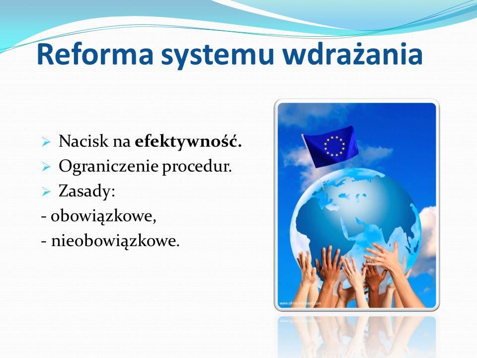 Reforma systemu wdrażania Nacisk na efektywność. Ograniczenie procedur. Zasady: - obowiązkowe, - nieobowiązkowe.