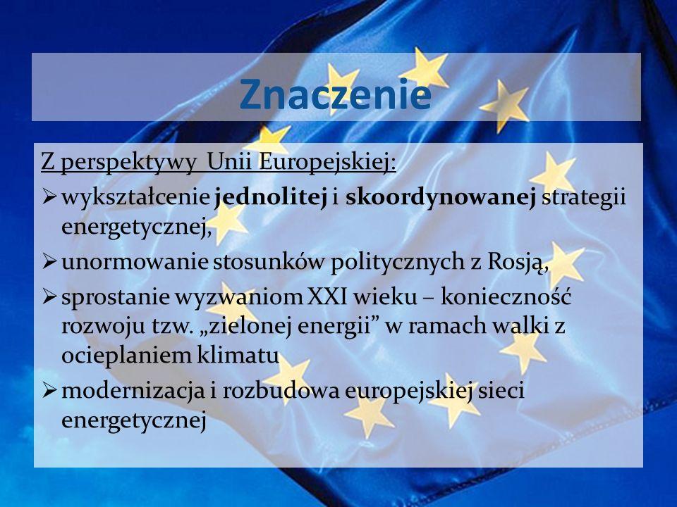 Znaczenie Z perspektywy Unii Europejskiej: wykształcenie jednolitej i skoordynowanej strategii energetycznej, unormowanie stosunków politycznych z Ros