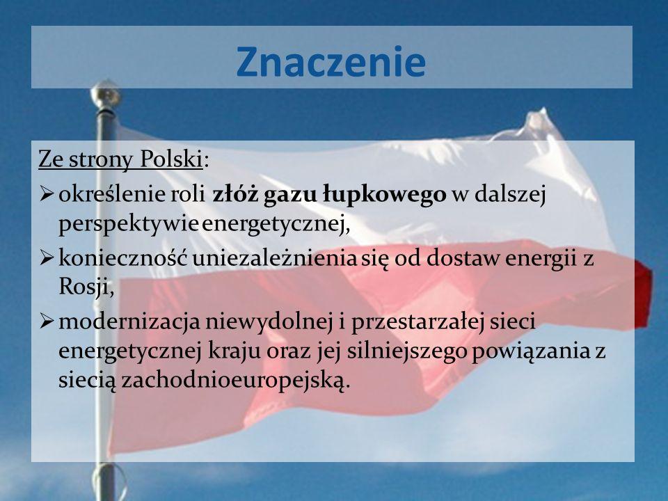 Znaczenie Ze strony Polski: określenie roli złóż gazu łupkowego w dalszej perspektywie energetycznej, konieczność uniezależnienia się od dostaw energi