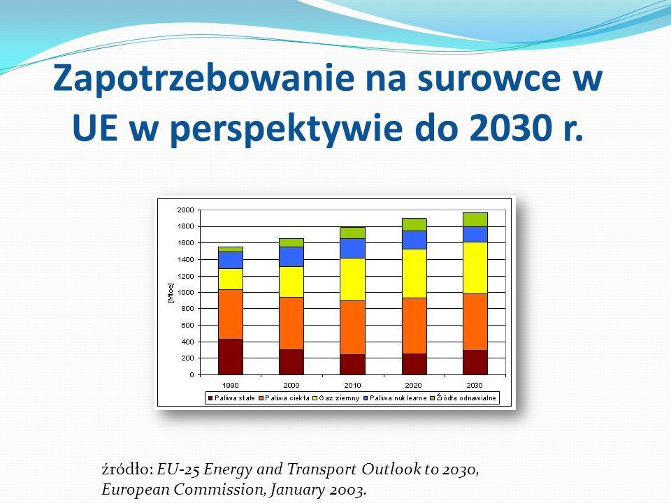 Zapotrzebowanie na surowce w UE w perspektywie do 2030 r. źródło: EU-25 Energy and Transport Outlook to 2030, European Commission, January 2003.