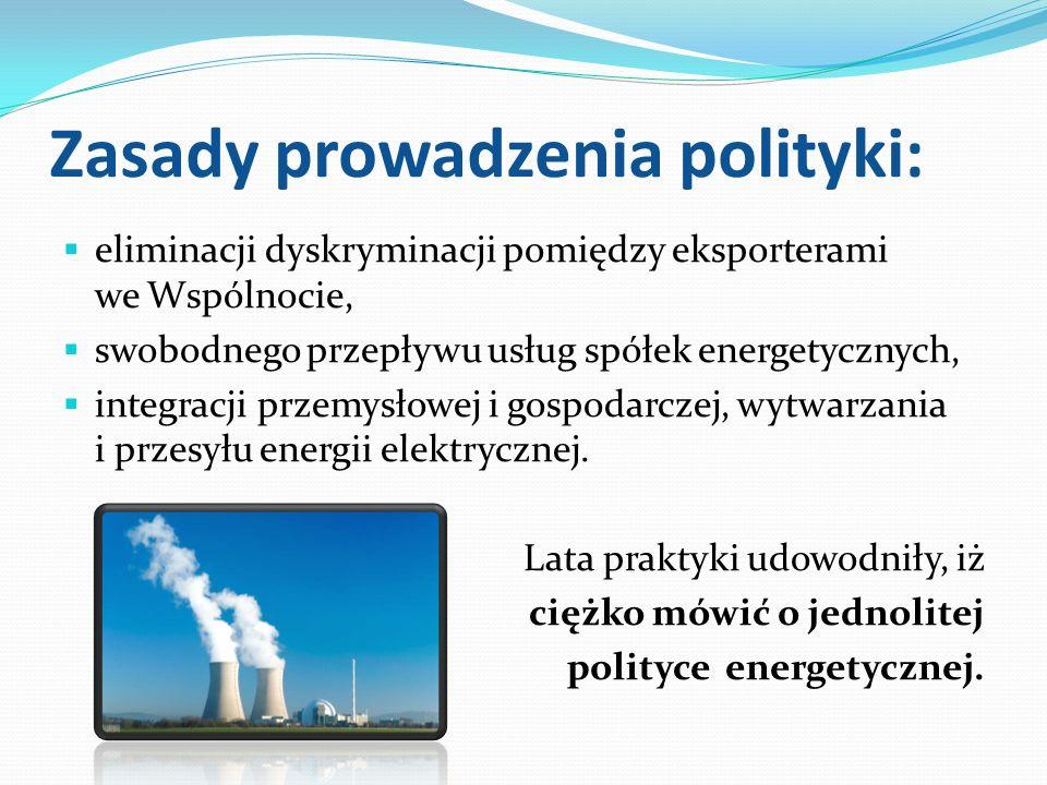 Zasady prowadzenia polityki: eliminacji dyskryminacji pomiędzy eksporterami we Wspólnocie, swobodnego przepływu usług spółek energetycznych, integracj