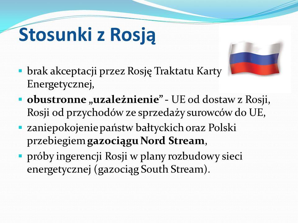 Stosunki z Rosją brak akceptacji przez Rosję Traktatu Karty Energetycznej, obustronne uzależnienie - UE od dostaw z Rosji, Rosji od przychodów ze sprz