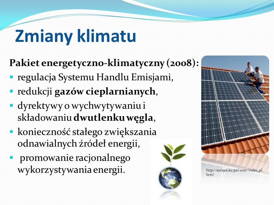 Zmiany klimatu Pakiet energetyczno-klimatyczny (2008): regulacja Systemu Handlu Emisjami, redukcji gazów cieplarnianych, dyrektywy o wychwytywaniu i s