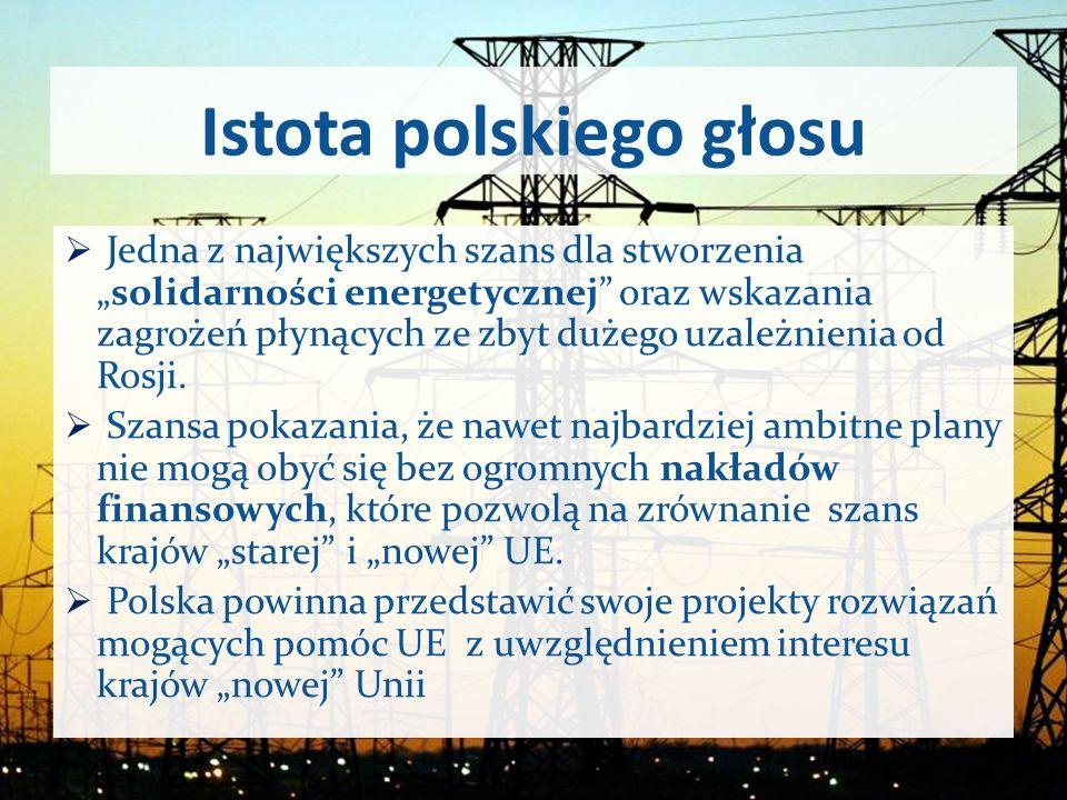 Istota polskiego głosu Jedna z największych szans dla stworzeniasolidarności energetycznej oraz wskazania zagrożeń płynących ze zbyt dużego uzależnien