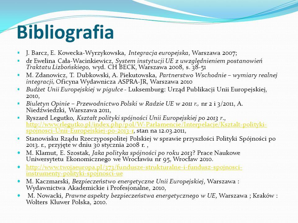 Bibliografia J. Barcz, E. Kowecka-Wyrzykowska, Integracja europejska, Warszawa 2007; dr Ewelina Cała-Wacinkiewicz, System instytucji UE z uwzględnieni