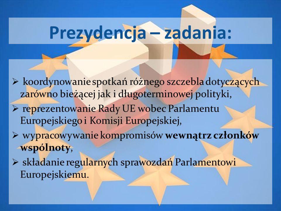 Prezydencja – zadania: koordynowanie spotkań różnego szczebla dotyczących zarówno bieżącej jak i długoterminowej polityki, reprezentowanie Rady UE wob