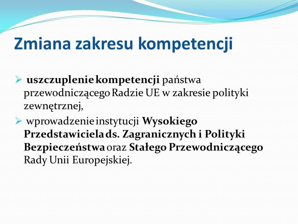 Zmiana zakresu kompetencji uszczuplenie kompetencji państwa przewodniczącego Radzie UE w zakresie polityki zewnętrznej, wprowadzenie instytucji Wysoki