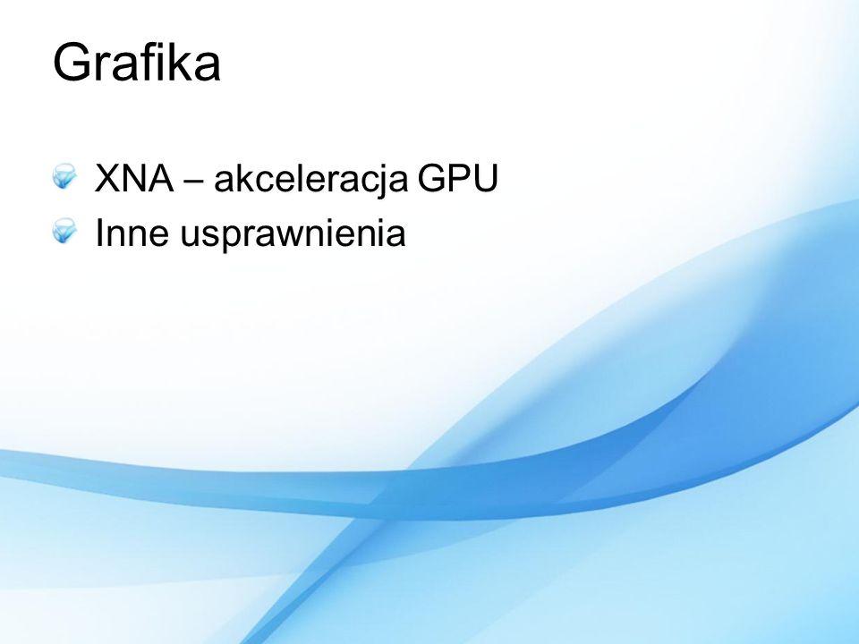 Grafika XNA – akceleracja GPU Inne usprawnienia