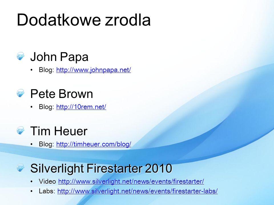 Dodatkowe zrodla John Papa Blog: http://www.johnpapa.net/Blog: http://www.johnpapa.net/http://www.johnpapa.net/ Pete Brown Blog: http://10rem.net/Blog