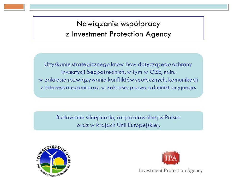 Nawiązanie współpracy z Investment Protection Agency Uzyskanie strategicznego know-how dotyczącego ochrony inwestycji bezpośrednich, w tym w OZE, m.in