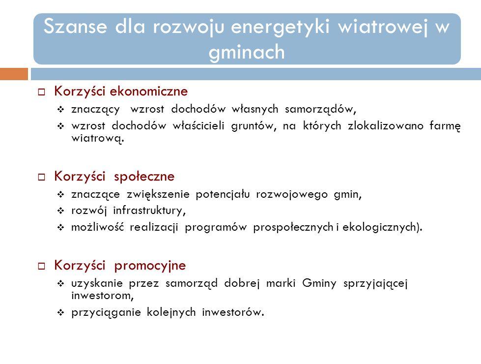 Szanse dla rozwoju energetyki wiatrowej w gminach Korzyści ekonomiczne znaczący wzrost dochodów własnych samorządów, wzrost dochodów właścicieli grunt