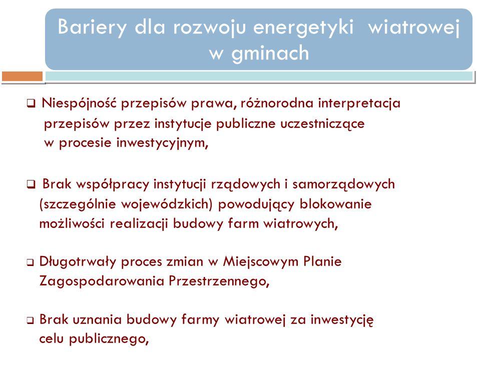 Niespójność przepisów prawa, różnorodna interpretacja przepisów przez instytucje publiczne uczestniczące w procesie inwestycyjnym, Brak współpracy ins