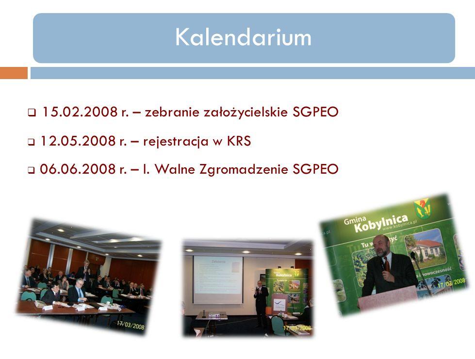 Kalendarium 15.02.2008 r. – zebranie założycielskie SGPEO 12.05.2008 r. – rejestracja w KRS 06.06.2008 r. – I. Walne Zgromadzenie SGPEO