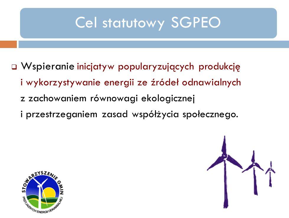 SGPEO realizuje go poprzez następujące działania: - opiniowanie i promowanie inicjatyw prawnych oraz gospodarczych związanych z pozyskaniem i produkcją energii w oparciu o wykorzystanie siły wiatru, energii wody, słońca, biomasy i gazu w celu realizacji krajowej strategii rozwoju energii odnawialnej powiązanej z dyrektywami i rozporządzeniami Unii Europejskiej, - reprezentowanie wspólnych interesów miast i gmin w zakresie ochrony i kształtowania środowiska w tym dotyczących opłat środowiskowych, podatków, ulg i zwolnień z takich opłat,