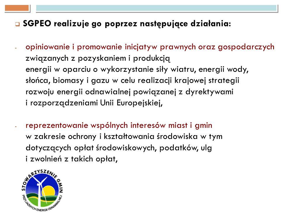 SGPEO realizuje go poprzez następujące działania: - opiniowanie i promowanie inicjatyw prawnych oraz gospodarczych związanych z pozyskaniem i produkcj