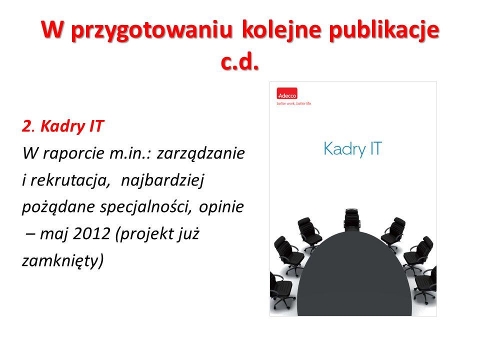 W przygotowaniu kolejne publikacje c.d. 2.