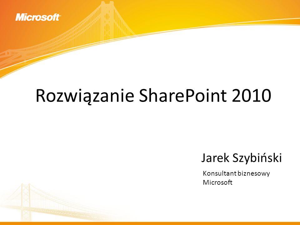 Rozwiązanie SharePoint 2010 Jarek Szybiński Konsultant biznesowy Microsoft