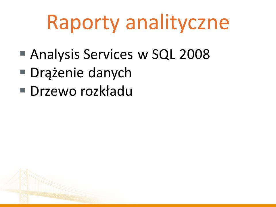Raporty analityczne Analysis Services w SQL 2008 Drążenie danych Drzewo rozkładu