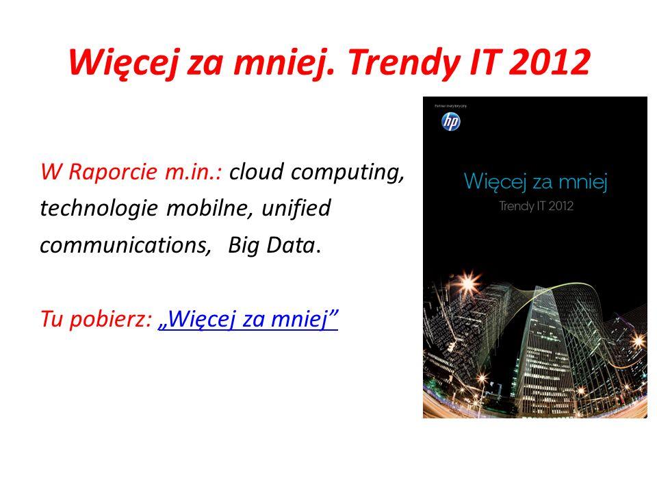 Więcej za mniej. Trendy IT 2012 W Raporcie m.in.: cloud computing, technologie mobilne, unified communications, Big Data. Tu pobierz: Więcej za mniejW