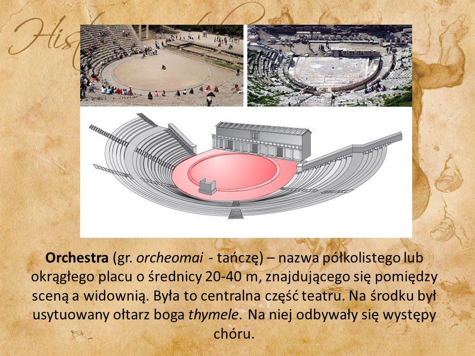 Orchestra (gr. orcheomai - tańczę) – nazwa półkolistego lub okrągłego placu o średnicy 20-40 m, znajdującego się pomiędzy sceną a widownią. Była to ce