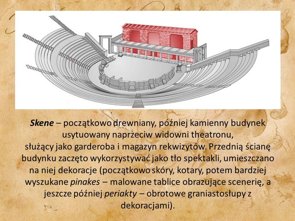 Skene – początkowo drewniany, później kamienny budynek usytuowany naprzeciw widowni theatronu, służący jako garderoba i magazyn rekwizytów. Przednią ś