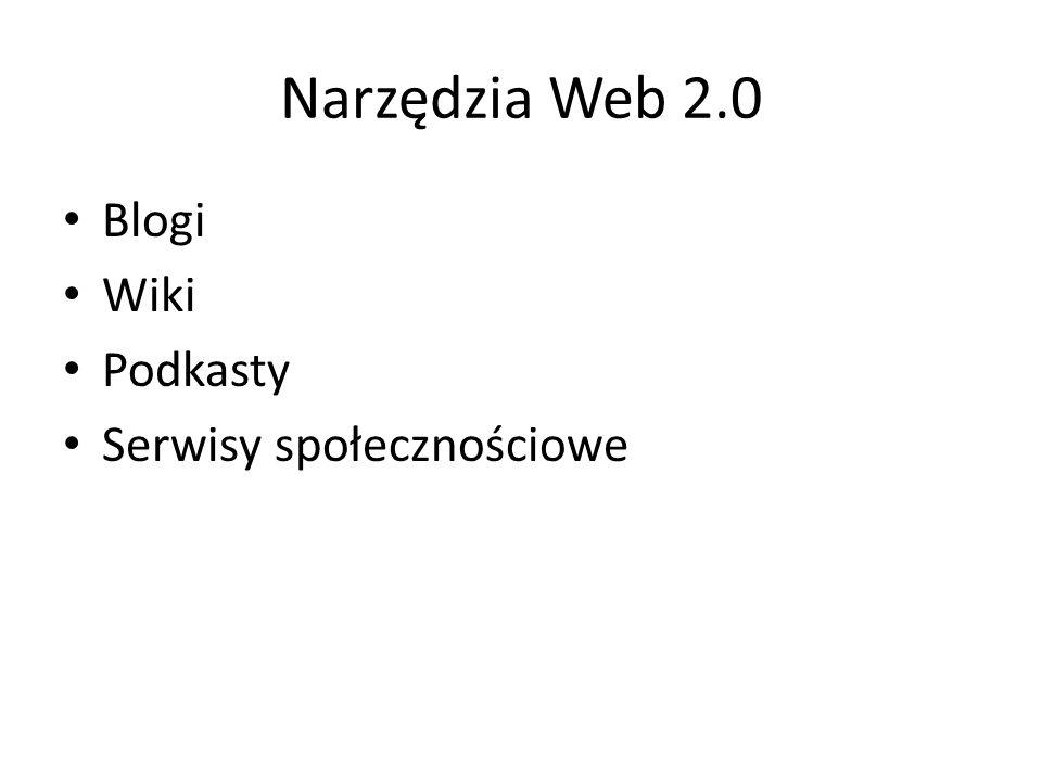 Narzędzia Web 2.0 Blogi Wiki Podkasty Serwisy społecznościowe