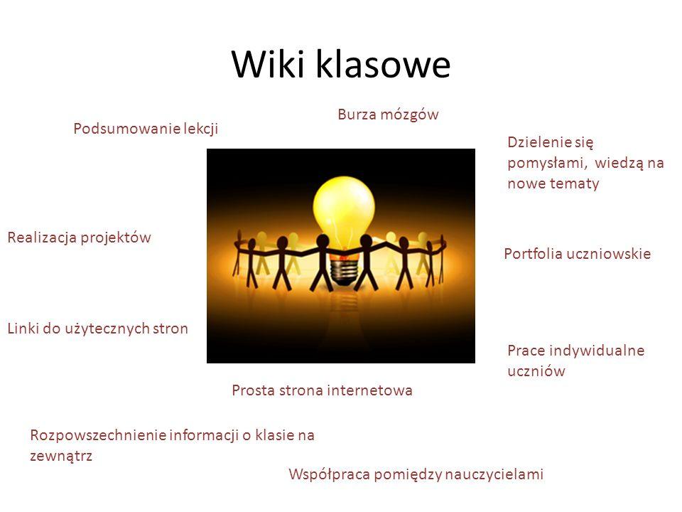 Wiki klasowe Podsumowanie lekcji Burza mózgów Realizacja projektów Rozpowszechnienie informacji o klasie na zewnątrz Prace indywidualne uczniów Prosta