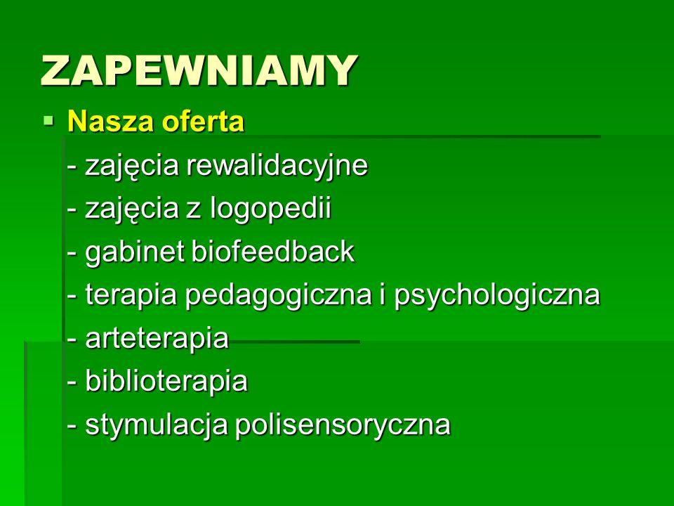 ZAPEWNIAMY Nasza oferta Nasza oferta - zajęcia rewalidacyjne - zajęcia z logopedii - gabinet biofeedback - terapia pedagogiczna i psychologiczna - art