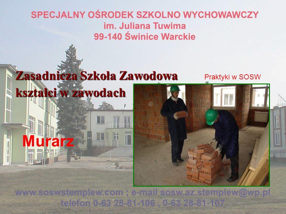 Zasadnicza Szkoła Zawodowa kształci w zawodach Murarz Praktyki w SOSW