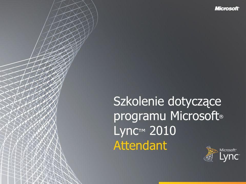 Cele W tym kursie szkoleniowym zostały omówione następujące tematy związane z funkcjami programu Microsoft Lync 2010 Attendant: Korzystanie z listy kontaktów Opis opcji sterowania połączeniami Nawiązywanie i odbieranie połączeń Zarządzanie wieloma konwersacjami Tworzenie grup połączenia zespołowego Parkowanie i przywracanie połączeń