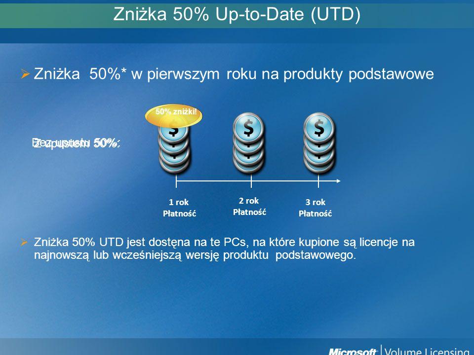 Zniżka 50% Up-to-Date (UTD) Zniżka 50%* w pierwszym roku na produkty podstawowe Zniżka 50% UTD jest dostęna na te PCs, na które kupione są licencje na