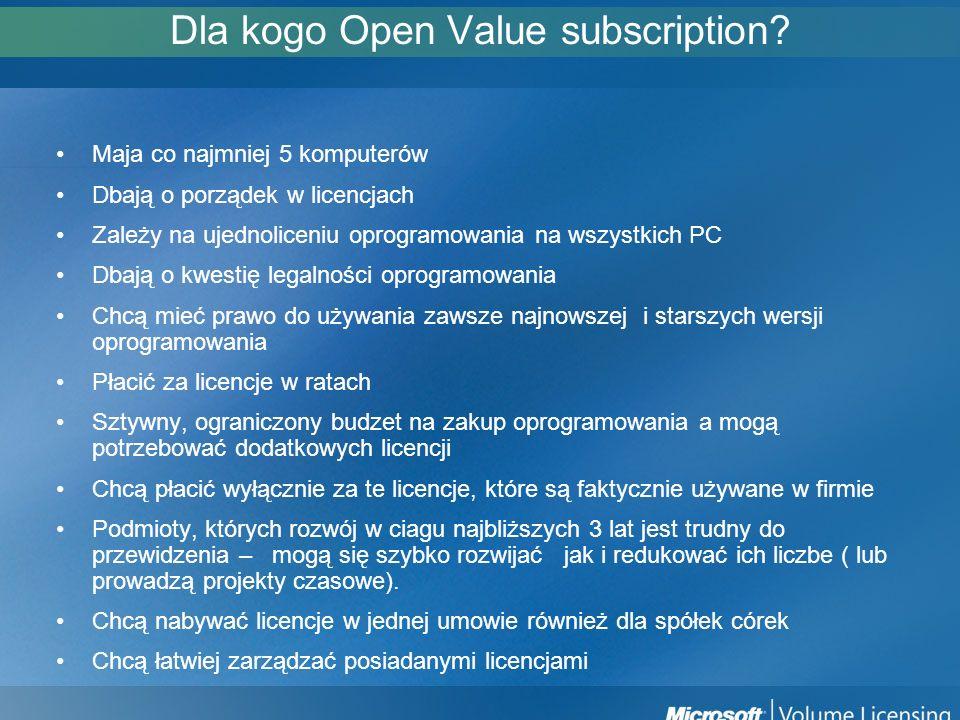 Dla kogo Open Value subscription? Maja co najmniej 5 komputerów Dbają o porządek w licencjach Zależy na ujednoliceniu oprogramowania na wszystkich PC