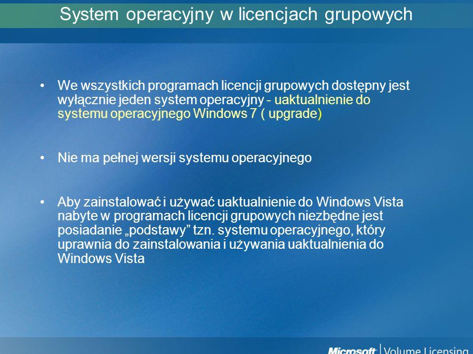 System operacyjny w licencjach grupowych We wszystkich programach licencji grupowych dostępny jest wyłącznie jeden system operacyjny - uaktualnienie d