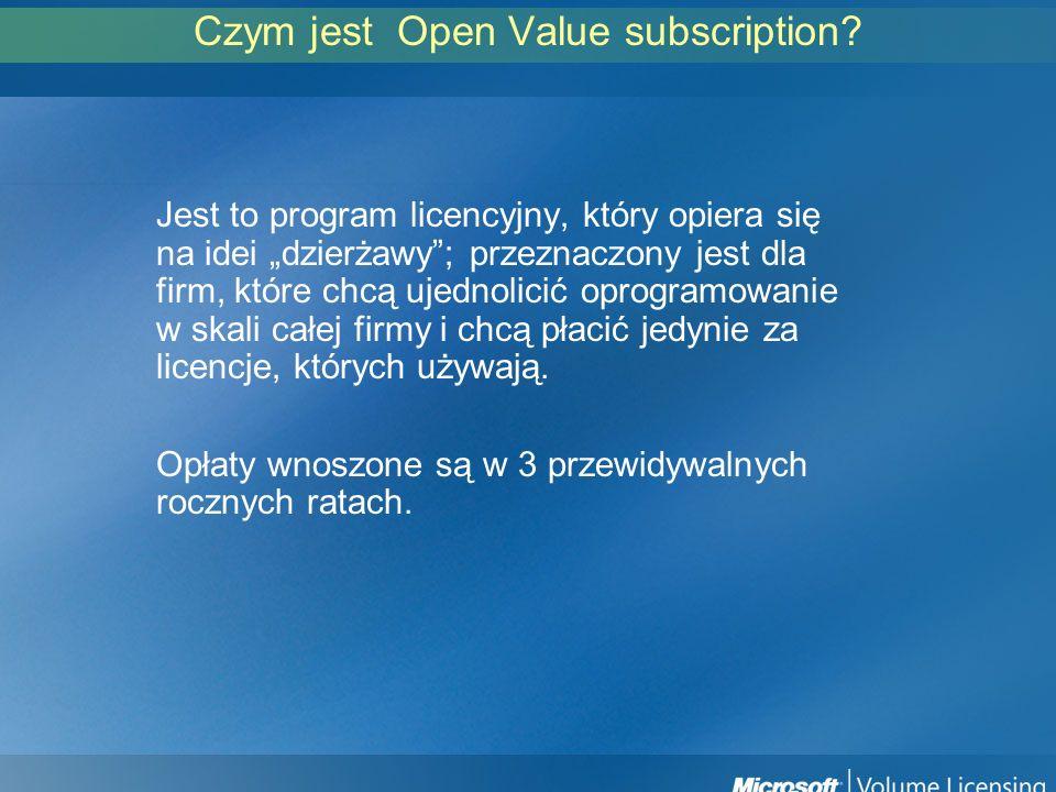 Podstawowe cechy Open Value subscription Minimum 5 komputerów kwalifikujących Umowa na 3 lata Licencje terminowe (wygasające wraz z umową) Opłaty w ratach rocznych Standaryzacja oprogramowania na wszystkich komputerach Podział na produkty podstawowe i dodatkowe Software Assurance integralną częścią umowy