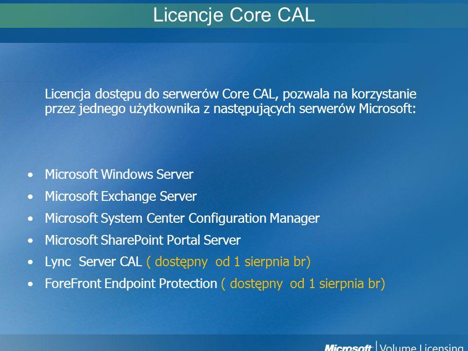 Licencje Core CAL Licencja dostępu do serwer ó w Core CAL, pozwala na korzystanie przez jednego użytkownika z następujących serwer ó w Microsoft: Micr